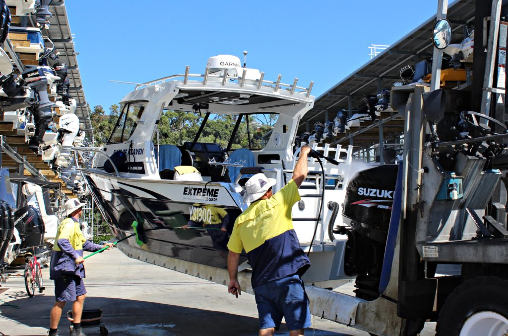 East Coast Marina Boat Storage Brisbane includes free wash down after haul out.